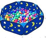 Shinehalo Stern Mond Pool, Kinderspielzelt Ball Pit, Hexagon Pop-up großen Ball Pool, 42-Zoll-Spiel Pit für Kleinkinder mit Reißverschluss Aufbewahrungstasche, Indoor-Outdoor-Spiel (Bälle nicht im Lieferumfang enthalten) - Blau