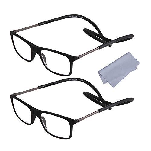 2 Stueck Lesebrille Lesehilfe +2.00(55-59) Jahre für Herren Damen Presbyopie mit Magnetverschluss und Clip Flexiblem Faltbare Einstellbare für Alterssichtigkeit Brillen, Schwarz