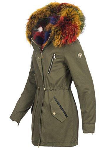 Violet Fashion Damen Wintermantel mit Pelzweste, Olivgrün/Bunt Olivgrün