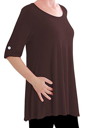 Eyecatch TM Oversize - Haut Tunique manches longues 3/4 large col rond grandes tailles- Jessica - Femme Brun