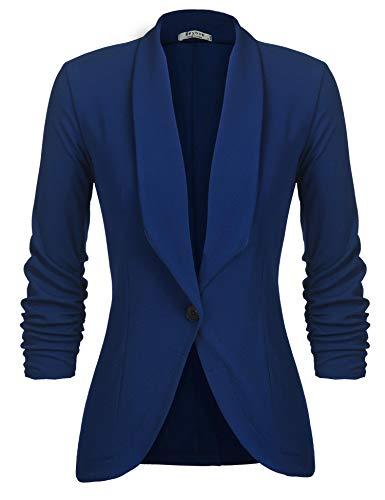 Unibelle Damen Blazer Cardigan Dünn 3/4 Längere Elegant Leicht Bolero Jacke Blazer Slim Fit Anzug Trenchcoat , Aa-blue, 40(Herstellergröße:L)