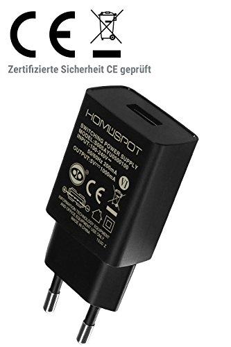 HomeSpot kompaktes Universal USB Ladegerät / Netzteil /5V1A mit EU Stecker für iPhone, iPad, Samsung Galaxy, Nexus, HTC, Motorola, LG und weitere USB Geräte (Nur Ladegerät)