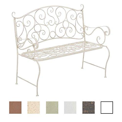 CLP Metall Gartenbank TUAN, 2-er Sitz-Bank Garten, Eisen lackiert, Design nostalgisch antik, 105 x 50 cm Antik Creme