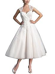 Brautkleid Damen Hochzeitskleider Tüll Spitze A Linie Wadenlang V-Ausschnitt mit Applikation Elfenbein EUR42