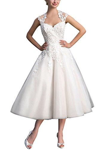 Damen Brautkleider Hochzeitskleider Tüll A Linie Wadenlang mit Applikation Elfenbein EUR38