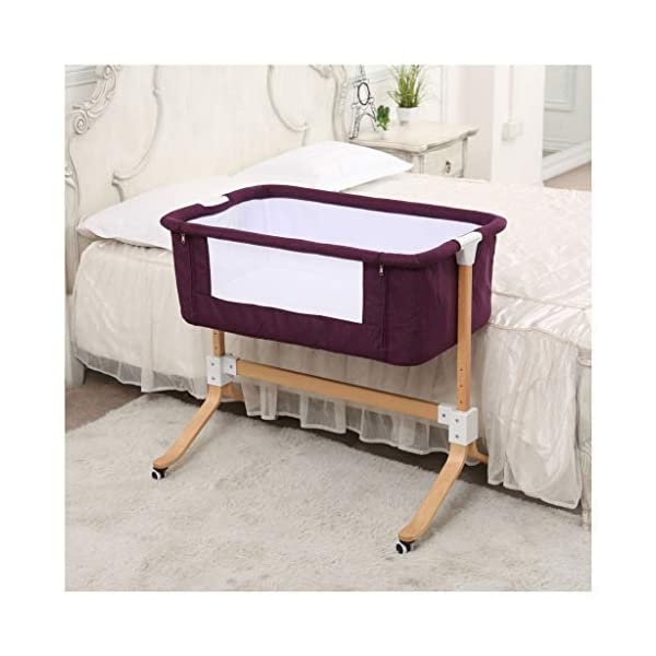 """Bedside Sleeping Crib 96 X 57 X 87cm for 0-12 Months Baby (Color : Purple) WZX PRODUCTS: European crib multi-function newborn solid wood bed portable baby stitching bed. SIZE: 96*57*87cm (37.79 x 22.44 x 34.25"""") for 0-12 months baby. FEATURES: Silent implementation, smooth shock absorption, brake at any time, does not hurt the floor. 1"""