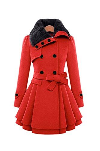 Les Femmes Et La Taille D'hiver Chaud À Double Boutonnage Élégants Laine Trenchcoat Vêtements Avec Ceinture Épaissir Garnis red
