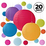 Fangoo 20 PCS Lanterne di carta rotonde colorate, paralumi colorati di diverse dimensioni per matrimoni, compleanni, feste, celebrazioni, patii - Dimensioni assortite di 6'8' 10'12'
