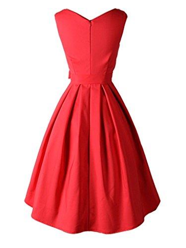 Eyekepper Robe courte classique annee 50 Vintage robe de femme a noeud de papillon Rouge