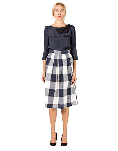 emma-fischer-womens-satin-bowknot-3-4-sleeve-shirt-plaids-knee-high-skirt-set