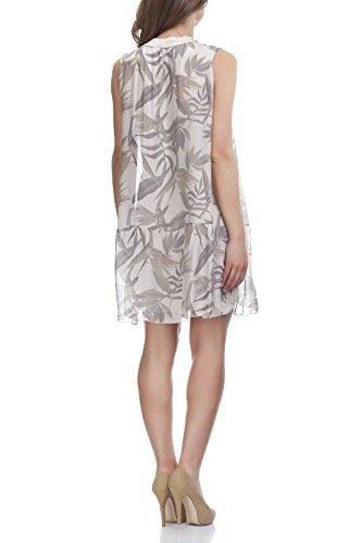 Laura Moretti - Seidenkleid mit Blumen und Blätterndruck Beige
