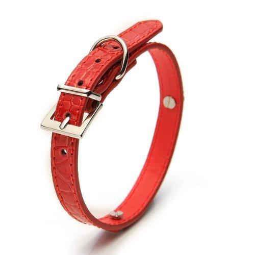 SODIAL(R) Collar Correa Cuero PU Rojo para Mascotas Perro Talla S