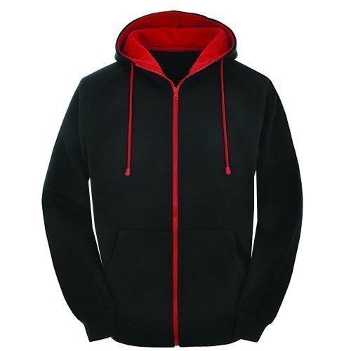 Contrasto nero body and rosso cerniera stile varsity retro felpa con cerniera, felpa con cappuccio giacca cerniera - nero/rosso cerniera, x-large