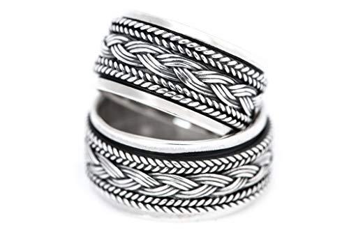 Windalf Wikinger Ring WYKIN h: 1 cm Drehring mit Wikingerknoten Handgeschmiedet Hochwertiges Silber (Silber, 64 (20.4))