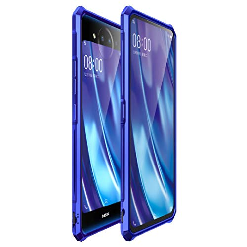 TAITOU Vivo Nex2 Bumper Case, Awesome Aviation Aluminum Metal Frame Anti-Drop Tough Clear Glass Back Slim Cover, Newest Cool Light Thin 2 In 1 Protection Phone Case for Vivo Nex 2 Blue