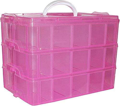 Belle vous scatola portaoggetti in plastica rosa a 3 ripiani - a18cmxl24cmxp15cm con 30 divisori regolabili - organizer portatile, perline, gioielli, bellezza, accessori unghie, capelli