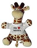 Shopzeus Jirafa de Peluche (Juguete) con Amo Russel en la Camiseta (Nombre de Pila/Apellido/Apodo)