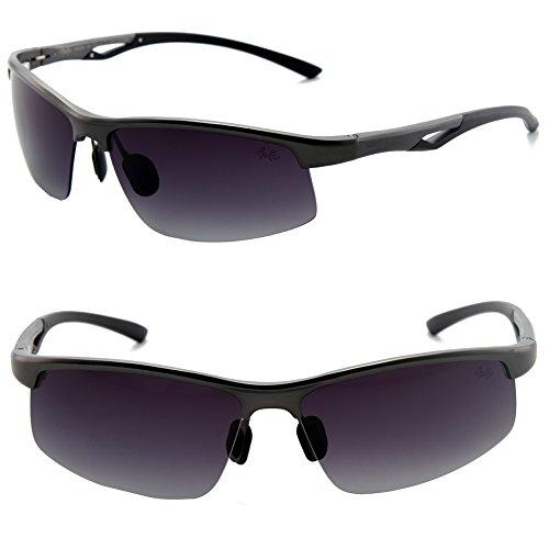 Männer Frauen Stil polarisierte Sonnenbrille Metallrahmen Sportbrillen (Camo, Grandient getönt)