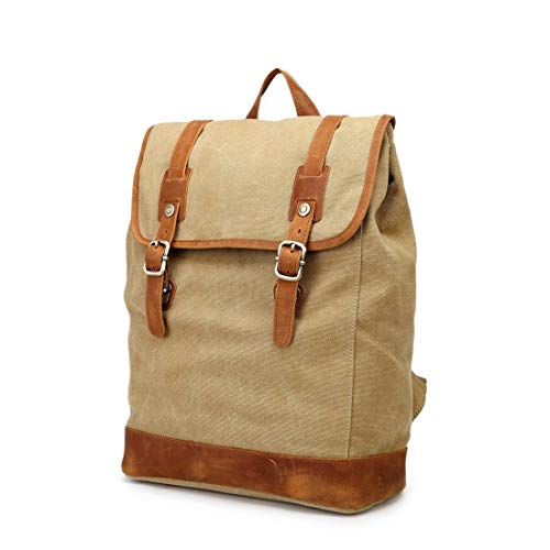Fusanadarn Vintage Herren- / Damenrucksack Daypack wasserdichte Drucktaste Leinwand 14-Zoll-Laptop Student Outdoor Shopping Farbe: Grau (Color : Khaki)