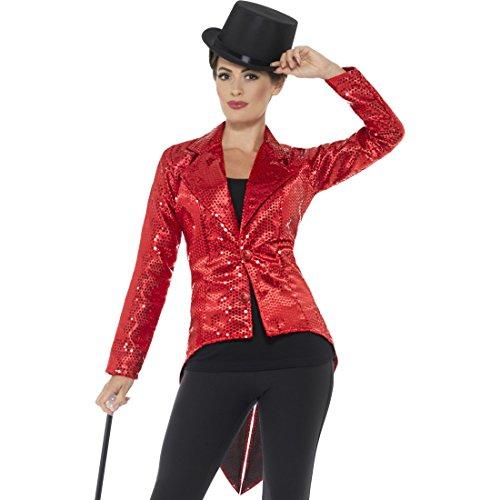 Kostüm Frauen Kabarett - Amakando Paillettenfrack - S (34/36) - Showgirl Frack Damen Glitzer Jacke Karneval Gehrock Kabarett Dompteuse Zirkus Jackett Frauen Roter Damenfrack