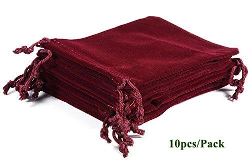 ALPHA DIMA 10 Stück 10x15cm Samtbeutel Samt Tunnelzug Taschen Schmuck Verpackung Beutel Hochzeit Party Geschenksäckchen(Weinrot)