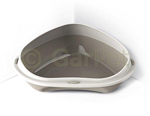 Katzentoilette XXL Ecktoilette mit Rand Katzenklo Katzen Eck Toilette WC (grau)