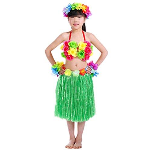 Imagen de hawaiano vestido falda hierba para ninas guirnaldas de flores 5pcs accesorios de playa costume disfraces verde