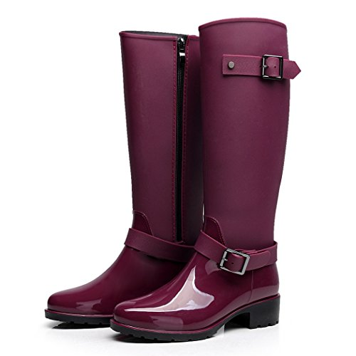 AMOMGard Womens Rain Boots Mid Calf Waterproof Rubber Wellies Wellington Rainboots High Knee Shoes