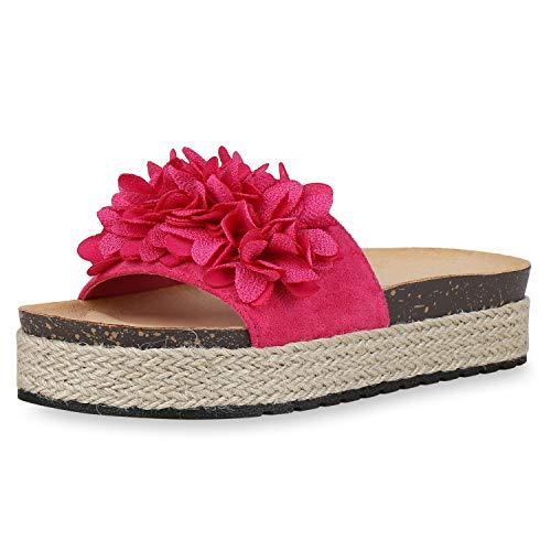 SCARPE VITA Damen Plateau Sandaletten Pantoletten Bast Sommer Schuhe Blumen Strandschuhe Schlappen 176243 Pink Blumen 39