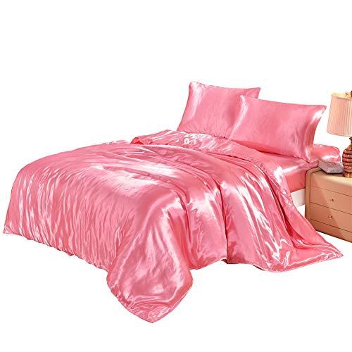 Ropa de cama de lujo Suave de satén 4pcs Juego de cama Juego de funda nórdica Juego de cama reversible Funda nórdica de edredón con cierre de cremallera para niños Adolescentes Chicas Microfibra suave