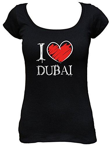 I love Dubai Fun Damen Boat Neck T-Shirt, Größe:S;Farbe:schwarz