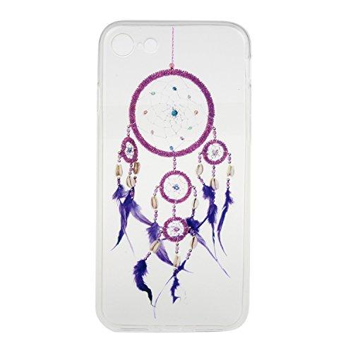 iPhone 7 Hülle,iPhone 7 Silikon Case,iPhone 7 Cover - Felfy Ultra Dünne Weicher Slim Gel Flexible Soft TPU Silikon Hülle Schutzhülle Silikon Hülle Blumen Muster Farbmalerei Beschützer Hülle Handy Durc Lila Campanula