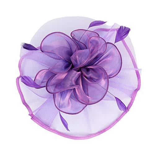 F Fityle Blumen Fascinator Haarreif Braut Party Kopfschmuck Gatsby Kostüm Accessoires 20er Jahre Flappers Feder Haarband - Lila