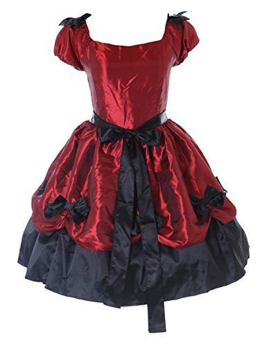 Kawaii-Story JL-667 Rot schwarz Schleife Viktorianisch Gothic Lolita Kurzarm Abend-Kleid Kostüm Cosplay ()