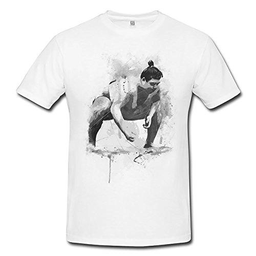 Sumo Ringer T-Shirt Mädchen Frauen, weiß mit Aufdruck (Ringer Mädchen Short Sleeve)