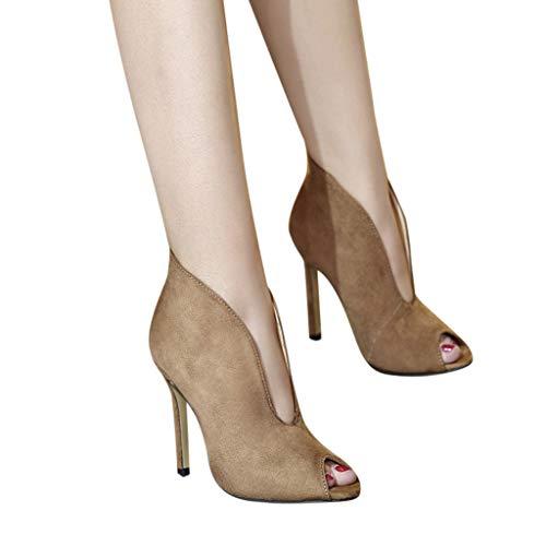 Mymyguoe Sandalen Damen Pure Farbe Boots Fisch Mund Peep Toes Party Schuhe Bequem Büro Pumpe Schuhe Flach Mund Arbeit Schuhe High Heels Stiletto Absatze Pumps Elegante Abendschuhe (Dress Schuhe Damen Low Heels)