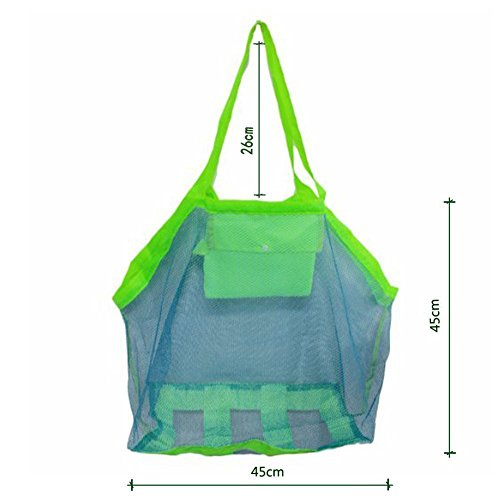 Weimay 1 PC grande Beach mesh bag Sand away Storage Bag Tote, Green Blue