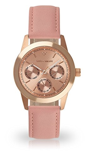 YVES CAMANI MADELAINE Women's Wrist Watch Quartz Analog Rosegold Stainless Steel Case Rosegold Dial (Leather - Rose)