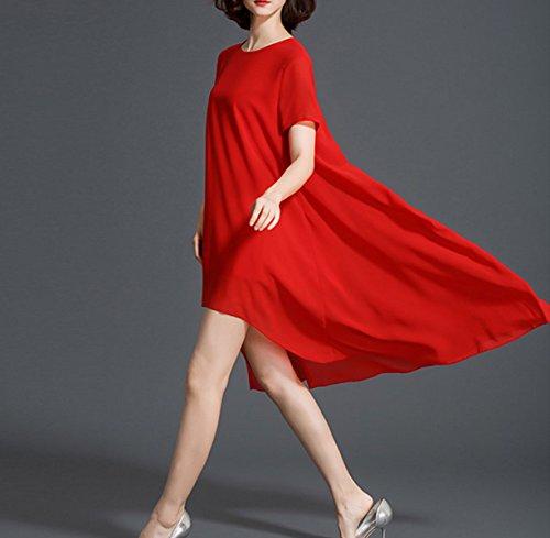 2017 Per Le Vacanze Chiffon Allentato Irregolare Vestito Signora Slim Red