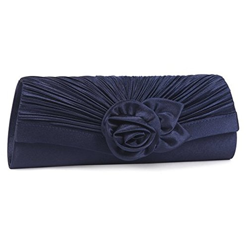 Eleoption Women'Satin Plissee-Clutch-Handtasche für den Abend, vorne Blau - Navy