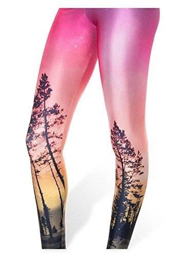 Bestland Damen Legging Tattoo Leggins Sterne Print Style Comic Elastische Stretch Strumpfhose Hüfthose Skinny Hose Enge (#11)