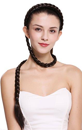 WIG ME UP - N1038-6 Haarteil Zopf an Haarreif geflochten super lang Tracht Braun 95 cm -