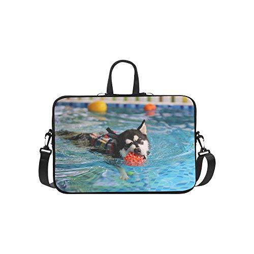 Laptop Umhängetasche Umhängetasche Tasche Notebook Griff Ärmel Neopren Soft Carring Tablet Reisetasche, Alaskan Malamute Wear Schwimmweste Gespielt Laptop Handtaschen 14