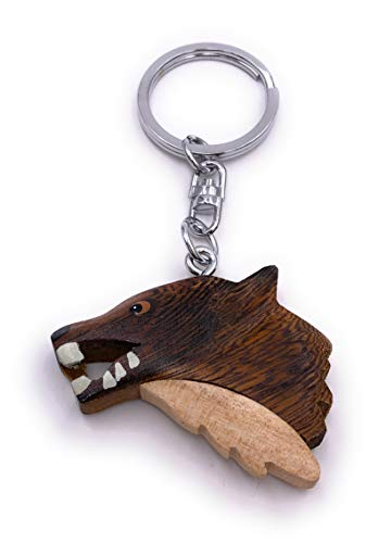 H-Customs Wolf Kopf Zähne Holz Edel Handmade Schlüsselanhänger Anhänger