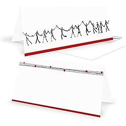 20 Stück HERZMENSCH neutrale - ohne Text - Grußkarten Glückwunschkarten Klappkarten DIN lang quer in schwarz weiß rot mit Herz Dankeskarten Einladung Einladungskarten Hochzeit Geburtstag Jubiläum