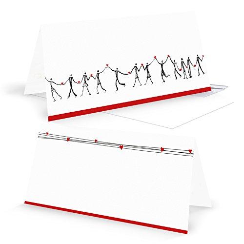 5 Stück HERZMENSCH neutrale - ohne Text - Grußkarten Glückwunschkarten Klappkarten DIN lang quer in schwarz weiß rot mit Herz Dankeskarten Einladung Einladungskarten Hochzeit Geburtstag Jubiläum