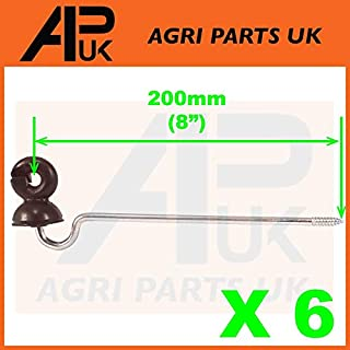 APUK 6 x Offset Long Distance Ring Screw Insulators Electric Fence Poly wire Rope