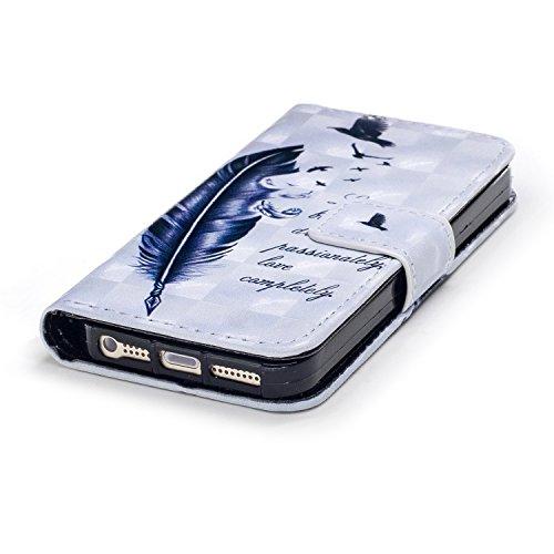 Leather Case Cover Custodia per iphone SE 5 5S ,COZY HUT Caso / copertura / telefono / involucro Modello retrò colorato del modello PU con a Bookstyle tasche carte di credito funzione con interno morb Piume grandi oche