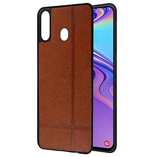- 41Z 2BRuo3 kL - Amazon Brand – Solimo Leather Mobile Cover (Soft & Flexible Back case) for Samsung Galaxy M20 (Brown)
