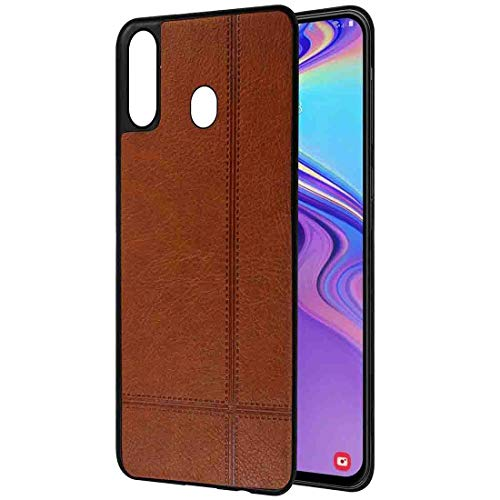Amazon Brand – Solimo Leather Mobile Cover (Soft & Flexible Back case) for Samsung Galaxy M20 (Brown)